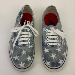 Vans Denim White Star Lace up Era Shoe Sz 8